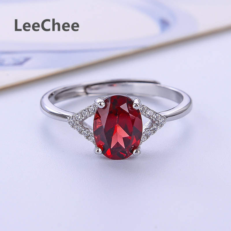 LeeChee 100% natural garnet ring for women engagement gift wine red gemstone fashion jewelry 6*8mm real 925solid sterling silver