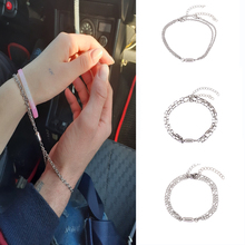 2Pcs/Set Steel O-Shaped Magnet Adjustable Bracelet for Couple Stainless Steel Charm Attractive Men and Women Valentine'Day Gifts
