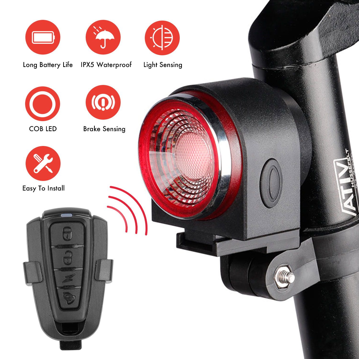 A8 IPX5 Waterproof USB Charging Tail Light for Bicycle Remote Control Smart Bike LED Light Burglar Alarm Warning Travel Security