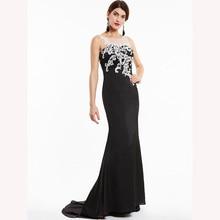 DressvสีดำชุดราตรียาวราคาถูกScoopคอAppliquesชุดแต่งงานชุดMermaid Evening Dresses