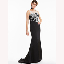 Dressv black long evening dress cheap scoop neck sleeveless appliques wedding party formal dress mermaid evening dresses