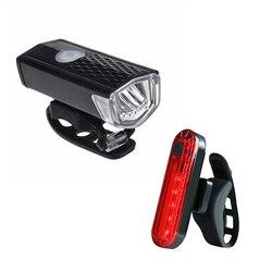 300 Lumens Bike Lights Usb Rechargeable Front Light Lamp Bike Headlight Rear Taillight Cycling LED Warning Lights Bike Accessori