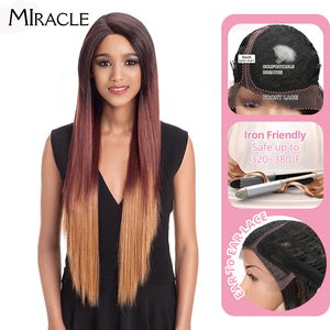 """Image 1 - Noble Hair Ombre Wig Colorful Heat Resistant Synthetic Hair Can Be Permed 32""""Inch Long Straight Lace Front Wigs For Black Women"""