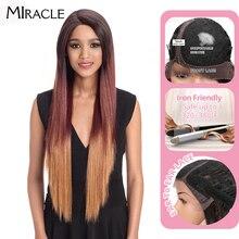 Perruque Lace Front Wig Ombre synthétique longue 32 pouces Noble, perruques colorées résistantes à la chaleur pour femmes noires