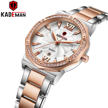 KADEMAN Women Watch Rhinestone Fashion Exquisite Leather Casual Watchs Luxury Analog Quartz Crystal Wristwatch Bracelet Watches kevin fashion women red watch student quartz analog watches leather wristwatch elegant vintage casual crystal montre femme hour
