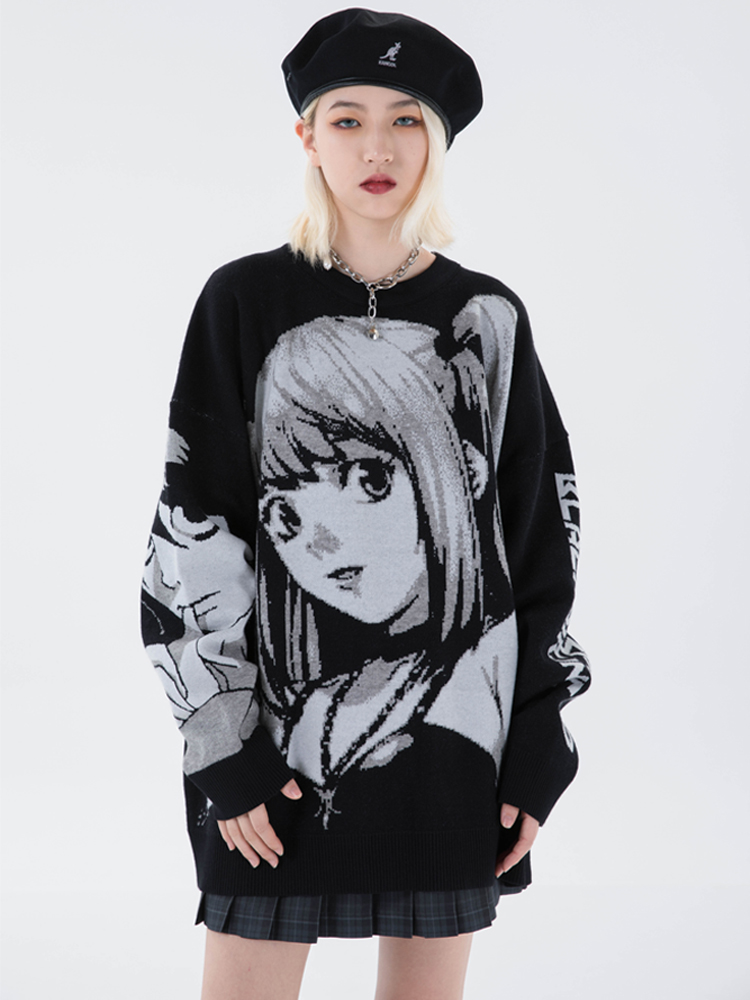 Knitted Sweater Streetwear-Harajuku Japanese Hip-Hop Retro Anime-Girl Vintage Autumn
