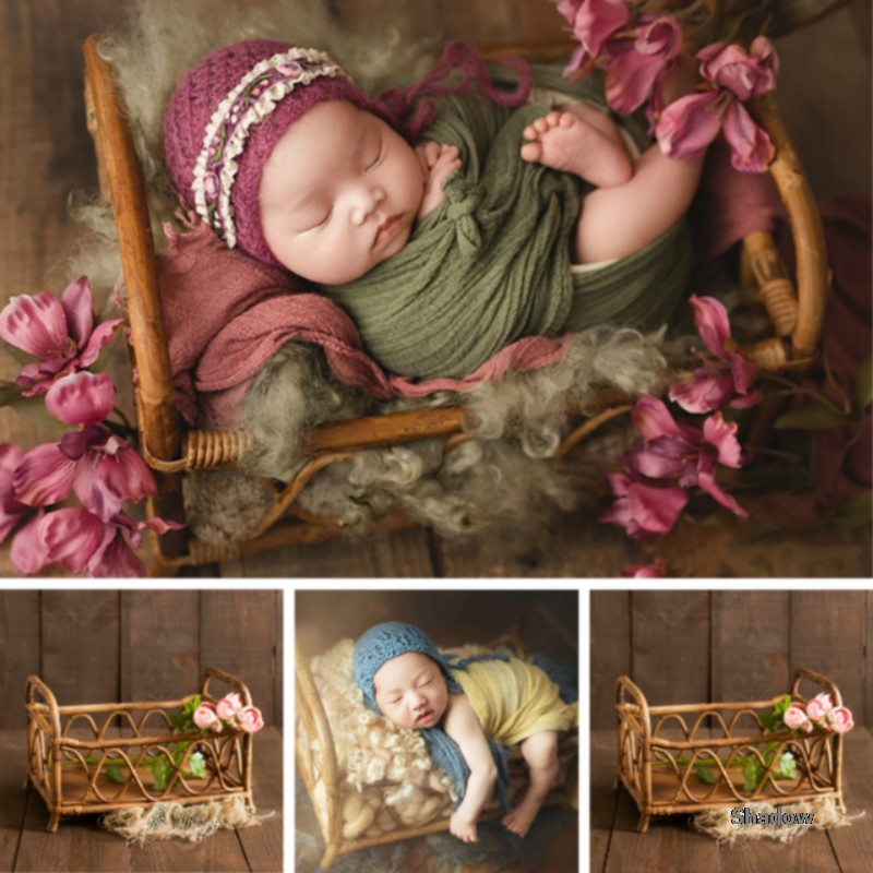 Newborn Photography Props Baby Photo Bed Basket Posing Container Infant Shoot Accessories Rattan Basket Good Photography Effect