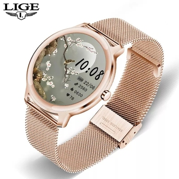 LIGE 2020 Women Smart watch Ladies Fashion sport Heart rate Blood pressure Pedometer sleep Information reminder Waterproof
