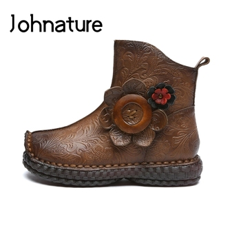 Johnature Retro 2020 New Winter Genuine Leather Platform Boots Women Shoes Zip Round Toe Flat With Print Flower Ankle Boots