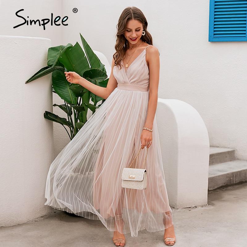 Simplee Mesh white lace women dress Elegant v neck evening maxi christmas dress Summer sexy long party dress vestido festa 2020