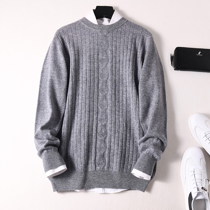 Sparsil Men Winter 100% Cashmere Sweater O-Neck Full Sleeve Twist Knitted Pullovers Autumn Warm Wool Boys Thicken Jumpers