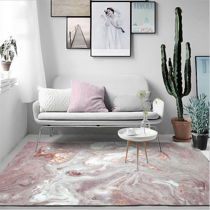 Carpets For Living Room Nordic Abstract Beautiful Powder White Pattern Carpet Area Rug For Bedroom Nordic Decoration Home Baby