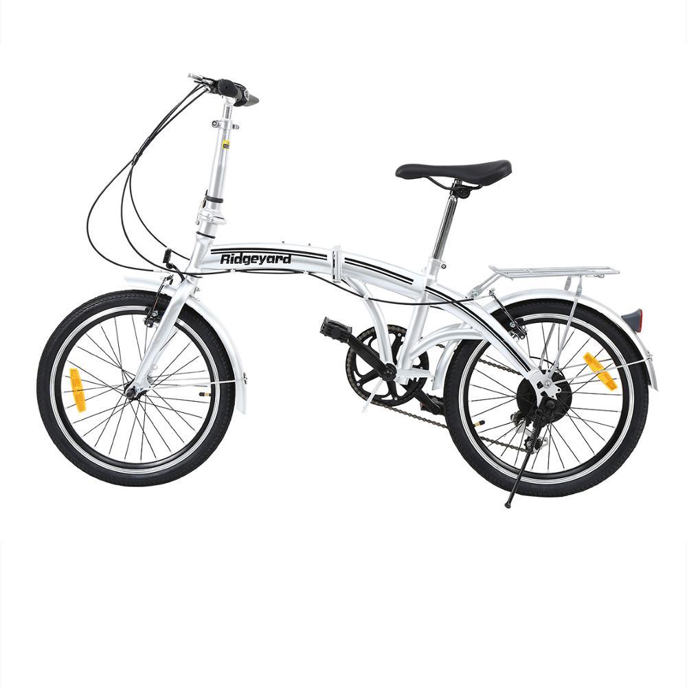 Yonntech 20 Inch Shimano Brakes 7 Speed Silver Folding Bike Adult Bicycle