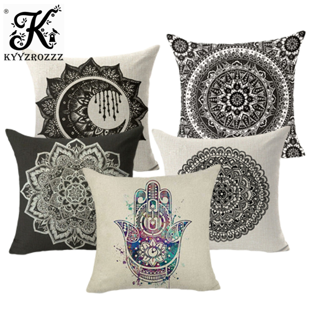 Mandala Decorative Pillow Covers Hamsa Hand Cotton Linen Pillow Cases Square Sofa Throw Pillowcases Seat Cushion Covers 45*45cm