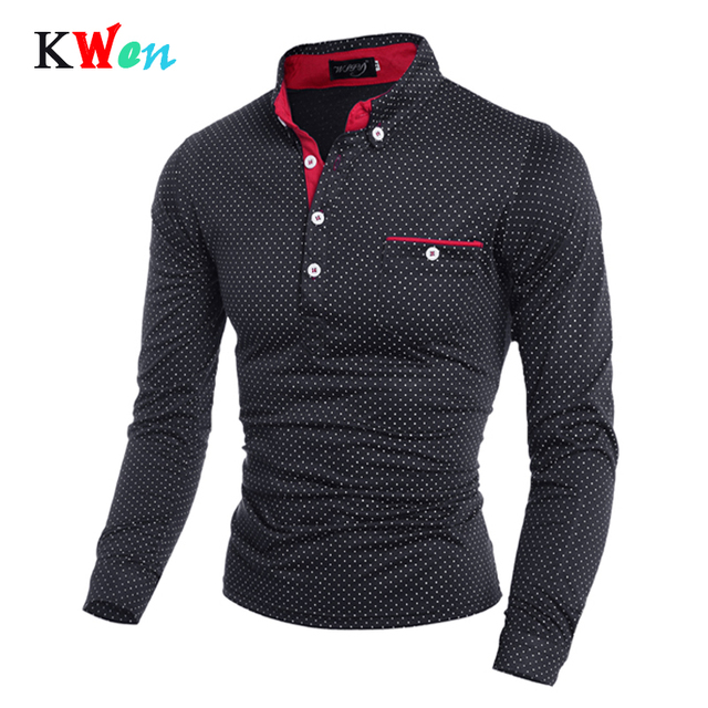 Heren Polo Shirt Merk Nieuwe 2019 Mannelijke Lange Mouwen Fashion Casual Slim Polka Dot Pocket Knop Polos Mannen Jerseys