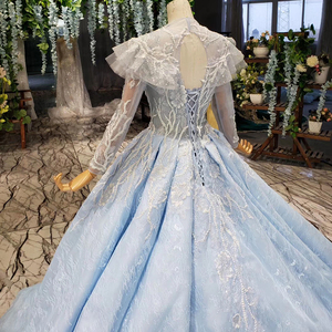 Image 5 - BGBW 2020 Long Sleeves Dresses Deep V Neck Beam Light Blue Heap Girl Beauty Pageant Dress Party Dresses Hollow Out Back