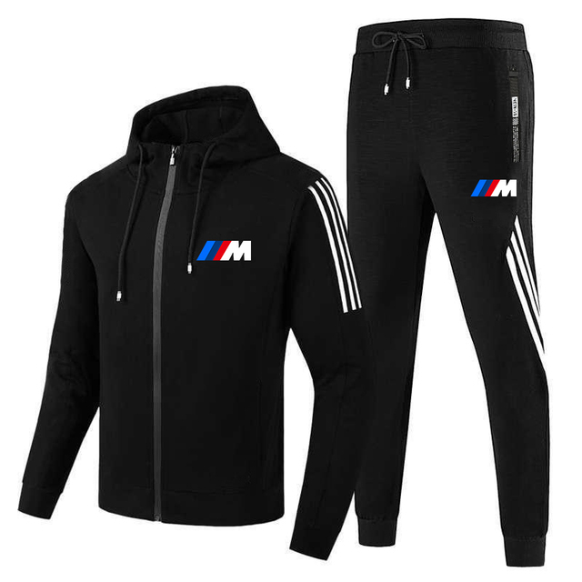 New  M men's fall/winter suit zipper hoodie + pants two pieces of casual sportswear men's sportswear gym brand clothing sport 2