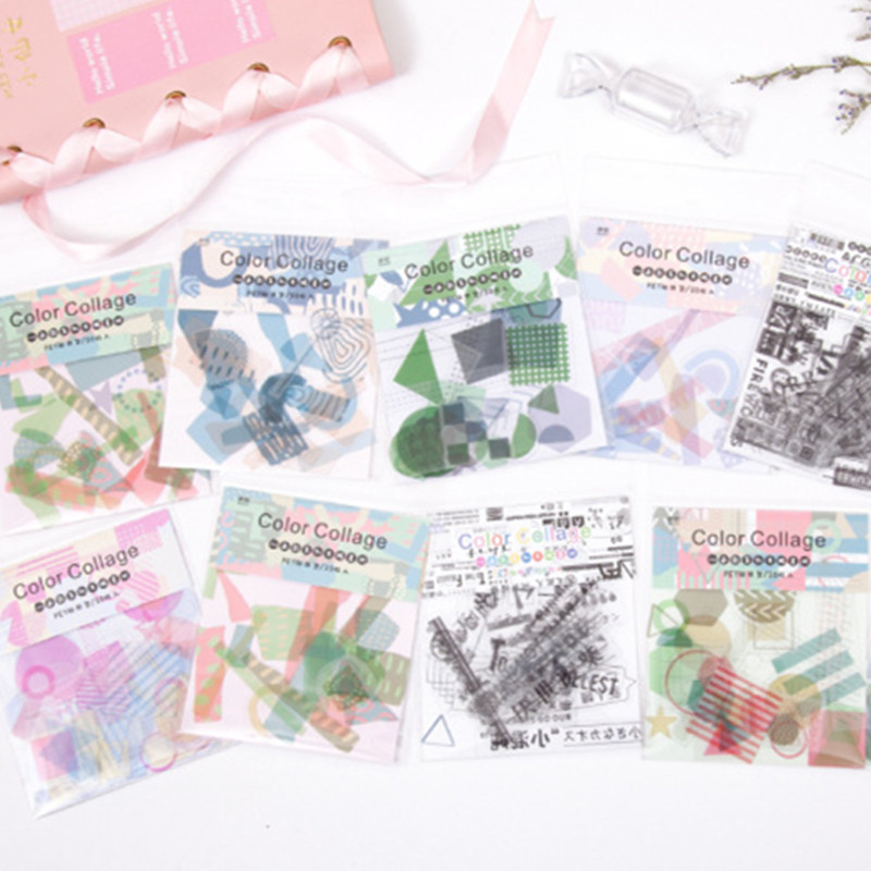 30pcs/pack Color Collage Decorative Stickers Scrapbooking Stick Label Diary Album Stationery Stickers