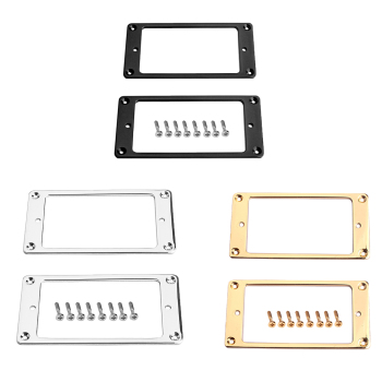 2pcs Steel Humbucker Pickup Ring Set Bottom Frame Musical Instrutment Replacment Parts for Guitar image