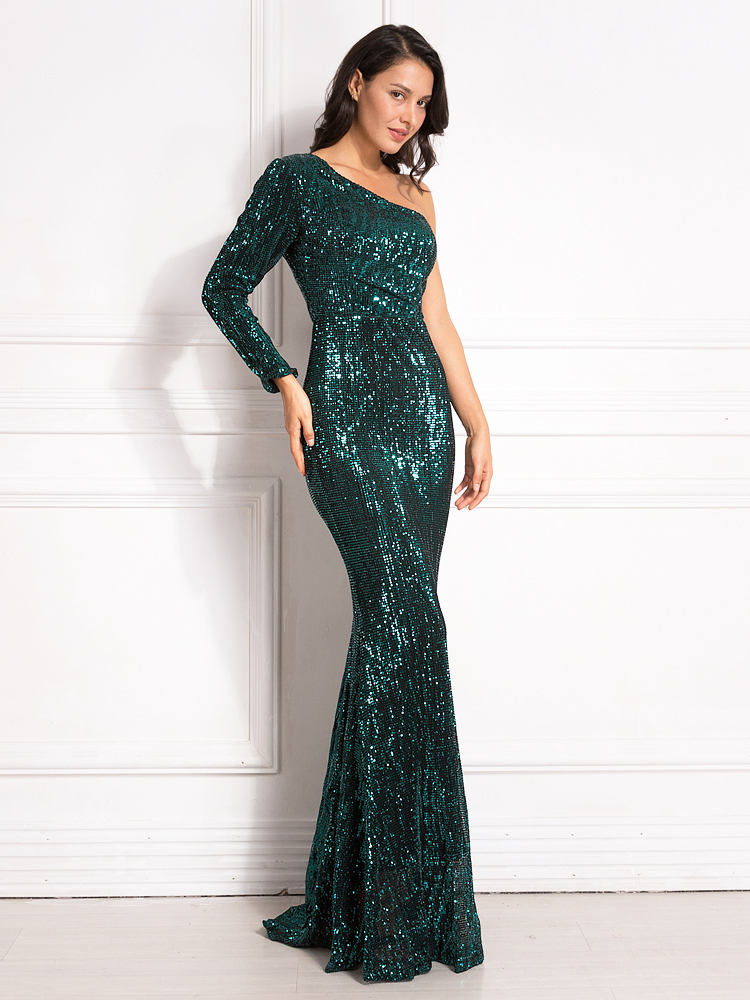 One Shoulder Stretchy Backless Sequin Long Bridesmaid Dress 11