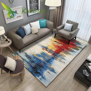 Image 1 - Simple Carpet Rug For Living Room Geometric Wood Floor Rug Non slip Antifouling Carpet For Bedroom Parlor Factory Direct Supply