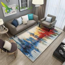Tapis de tapis Simple pour salon tapis de sol en bois géométrique tapis antisalissure antidérapant pour chambre salon approvisionnement Direct dusine