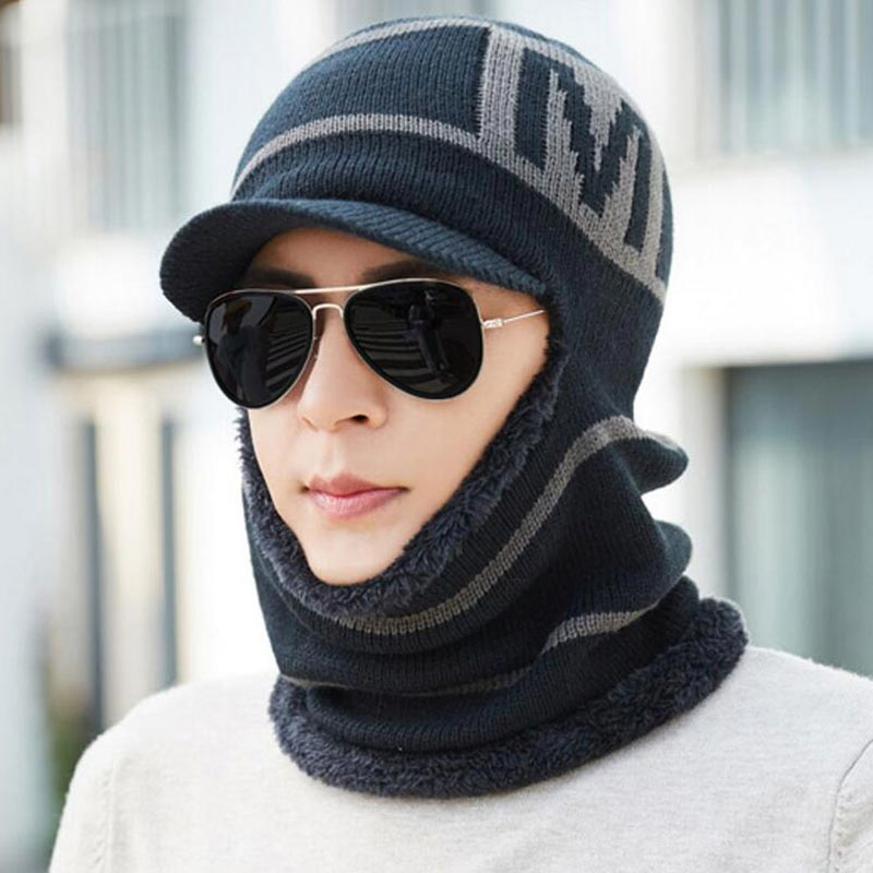 Winter Men Hat And Scarf Set Male Warm Plush Hooded Cap Scarves With Brim Knit Visor Beanies Balaclava Adult Stripe Bonnet