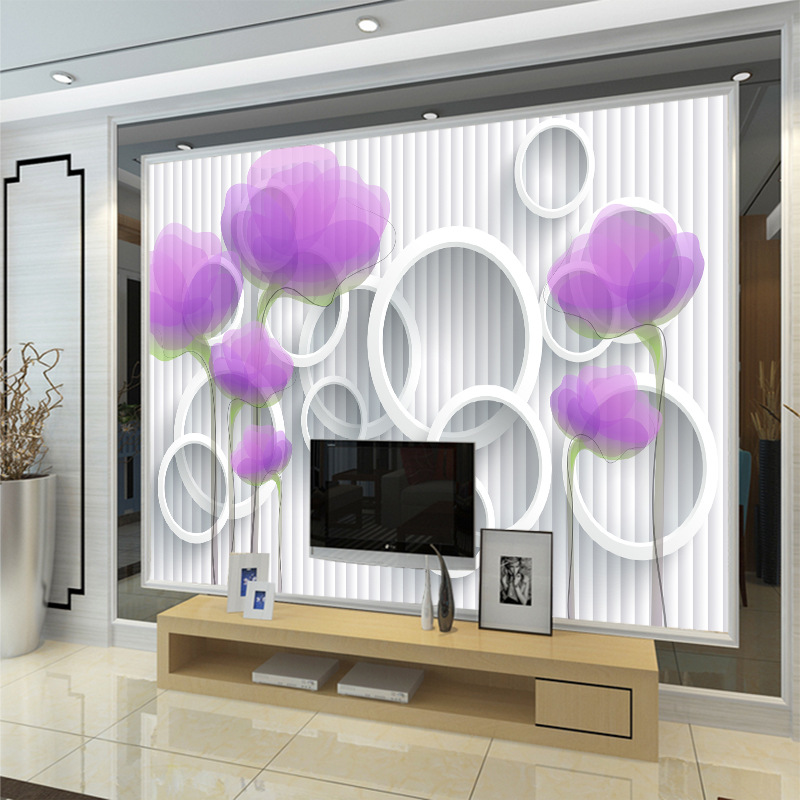 Large Seamless Mural Purple Flower High-definition Abstract Cool Wallpaper Non-woven Wallpaper Customizable Special Offer TV Wal