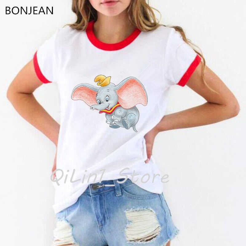 Grappige dumbo T-shirt Vrouwen t-shirt Leuke Dumbo Baby Olifant animal Print t-shirt vrouwelijke Casual tumblr kleding tee shirt femme