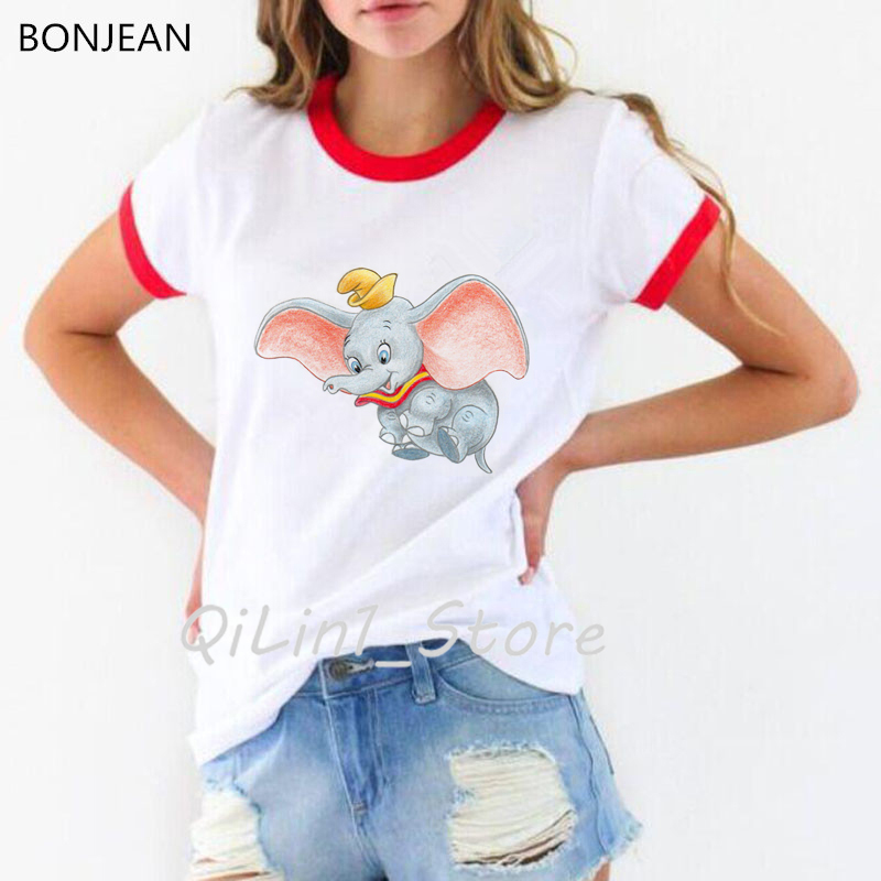 New arrival 2019 funny dumbo Women T Shirt Cute Dumbo Baby Elephant Printed tshirt female Casual tumblr Tops tee shirt femme in T Shirts from Women 39 s Clothing