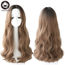 7JHH WIGS Long Deep Wave Omber Brown Middle Part Wi
