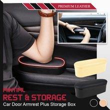 Mintiml coche barandilla apoyo apoyabrazos izquierdo apoyo Anti-fatiga alfombrilla antideslizante caja de almacenamiento ajustable coche accesorios Interio