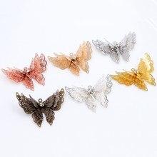 10 pçs 35x25mm metal cobre strass borboleta filigrana envolve charme diy jóias acessórios descobertas suprimentos para jóias