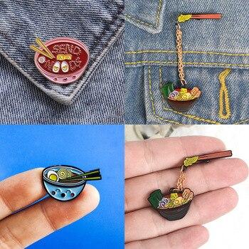 Cute Cartoon makaron miska ze stopu koszula torba broszka emalia Pin metalowe broszki dla kobiet odznaka Pines Metalicos Brosche akcesoria