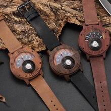 Мужские деревянные бамбуковые часы Уникальный поворотный циферблат