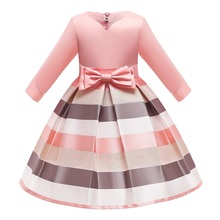 New Christmas sister party children's dress striped princess dress girl's birthday party ceremonial dinner bow dress
