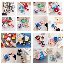 Superman Wireless Bluetooth Earphone With Lanyard Case For Airpods 2 Stitch Protective Fruit Soft Cover Cute Cartoon