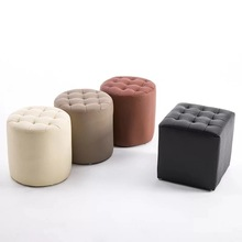 Leather Shoes Changing Stool Wearing European Style Testing Small Round Bed Tail Living Room