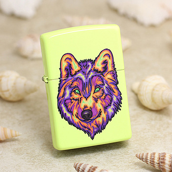 Genuine Zippo oil lighter copper windproof Yellow Wolf cigarette Kerosene lighters Gift With anti-counterfeiting code