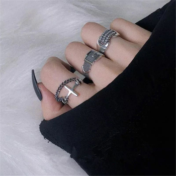 1PCs Punk Hip Hop Adjustable Black Ring Simple Geometric Cross Multilayer Goth Ring Man Women Dating Party Club Jewelry Gifts 1