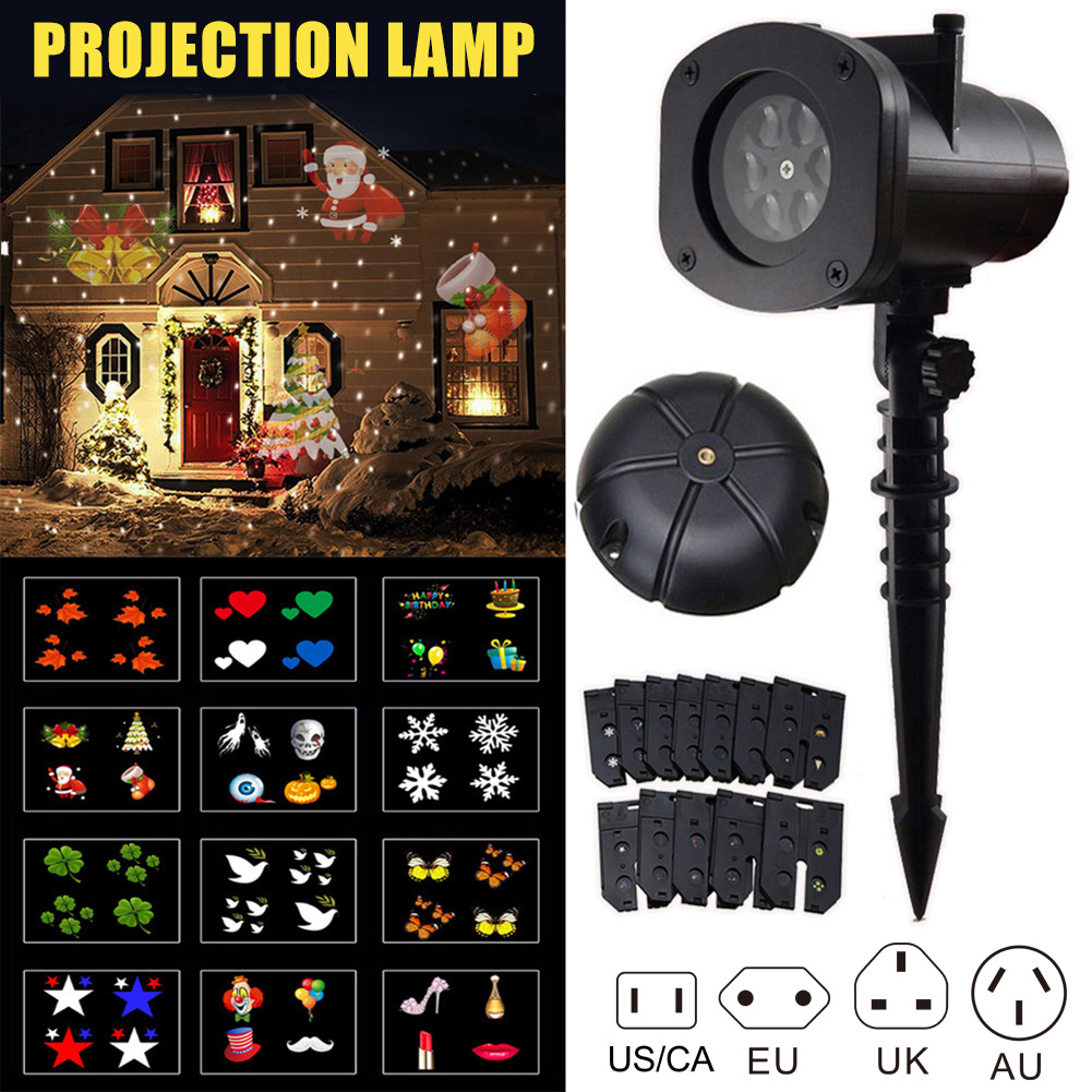 12 Pattern Landscape Projector Move LED Xmas Garden Stage Party Light Christmas Projection Lamp Can CSV