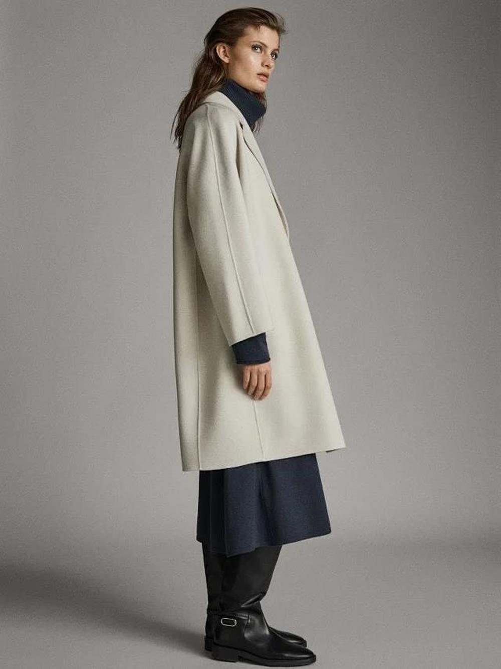New Autumn Winter Handmade Women's Mid-length Double-sided Wool Turn-down Collar Single Breasted Office Lady Coat White Blue