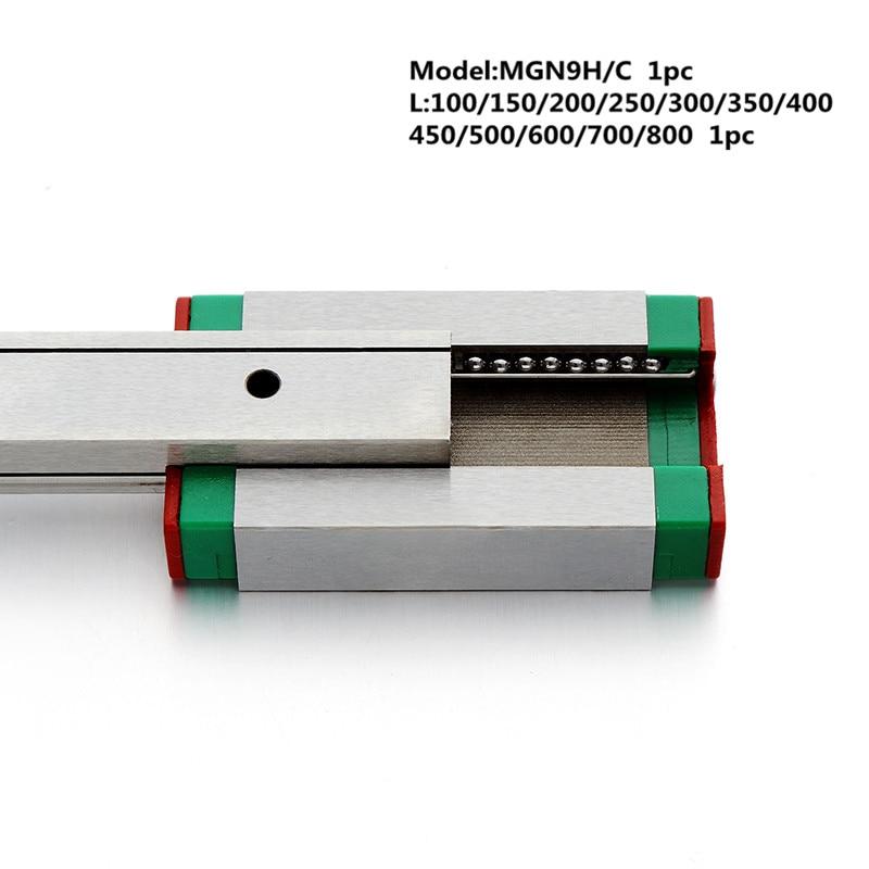 Купить с кэшбэком MGN9 CNC 9mm miniature linear rail guide  MGN9C L100 - 600 mm MGN9 linear block carriage or MGN9H narrow carriage