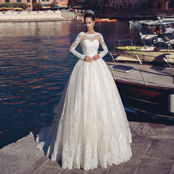 Verngo 2019 Ball Gown  Wedding Dress Lace Appliques Wedding Dress Lace-up Back Bride Dress Sleeved Weeding Gowns Robe Mariage lace up back velvet cami dress