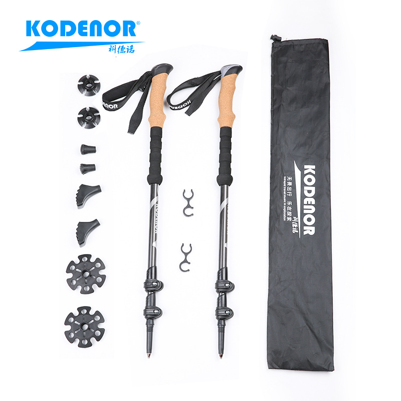 Section Denau Outdoor KDN-001 Carbon Fiber Wand Extendable Three-section External Lock Folding Walking Stick Alpenstock