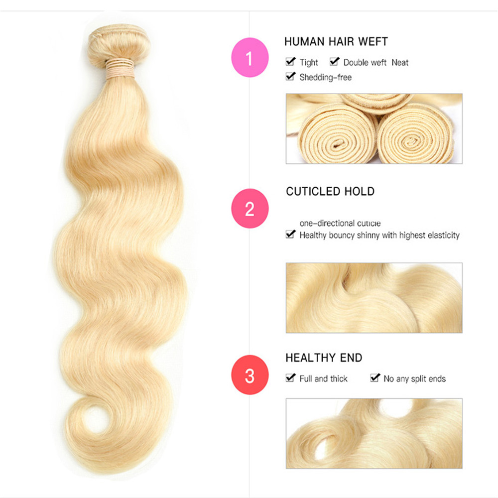 Body Wave Hair 613 Bundles Deal with Closure  with 4X4 Transparent Lace Closure  Free Part s 3