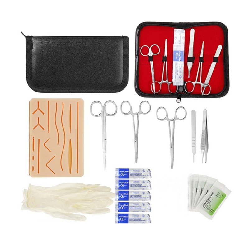 Surgical Suture Training Kit Skin Operate Suture Practice Model Training Pad Needle Scissors Tool Kit Medical Teaching