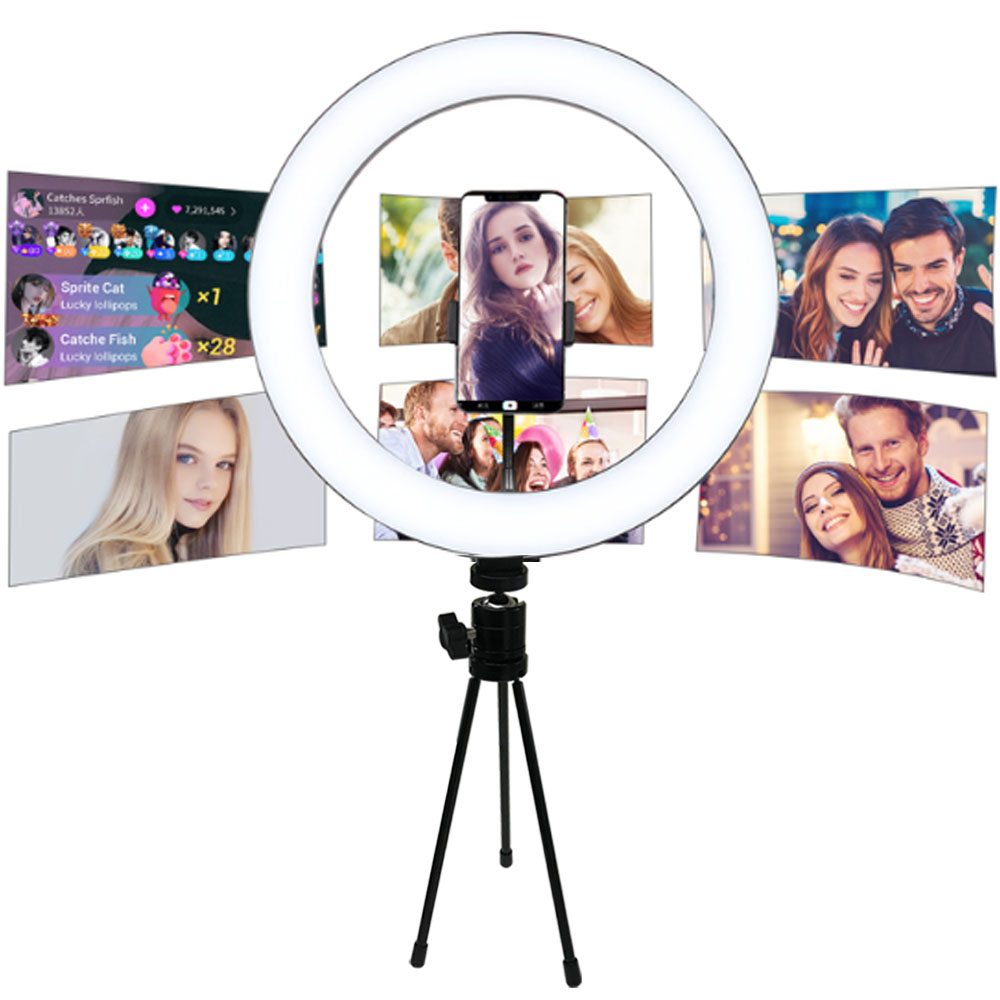 Photography LED Selfie Ring Light 21cm/16cm Dimmable USB Camera Phone Studio Ring Lamp With Tripods For Makeup Video Live