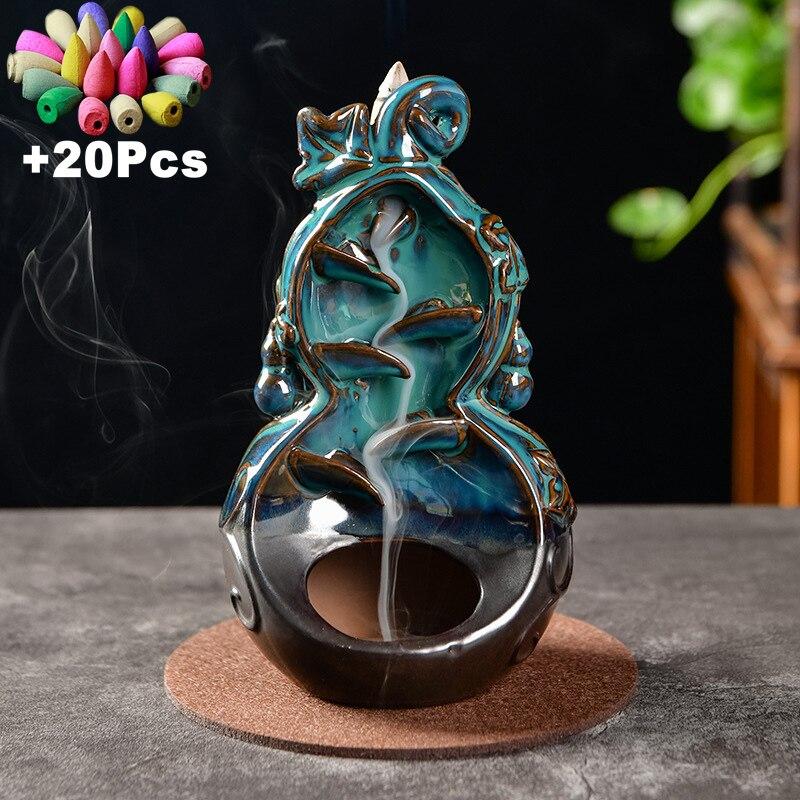 Классические китайские керамические подарки ручной работы, креативные домашние украшения, курильница для благовоний с спокойным обратным ...