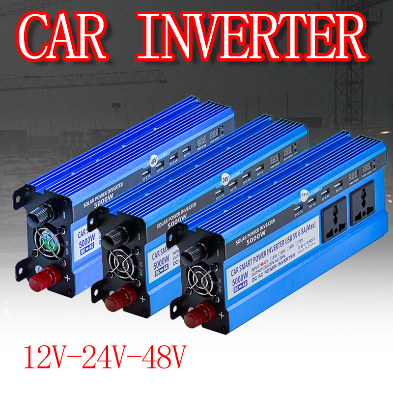 Solar Inverter 12 24 48V 220V 5000W Inverter Voltage Converter Transformer 4 USB Solar Power Inverter Charger For Car Home